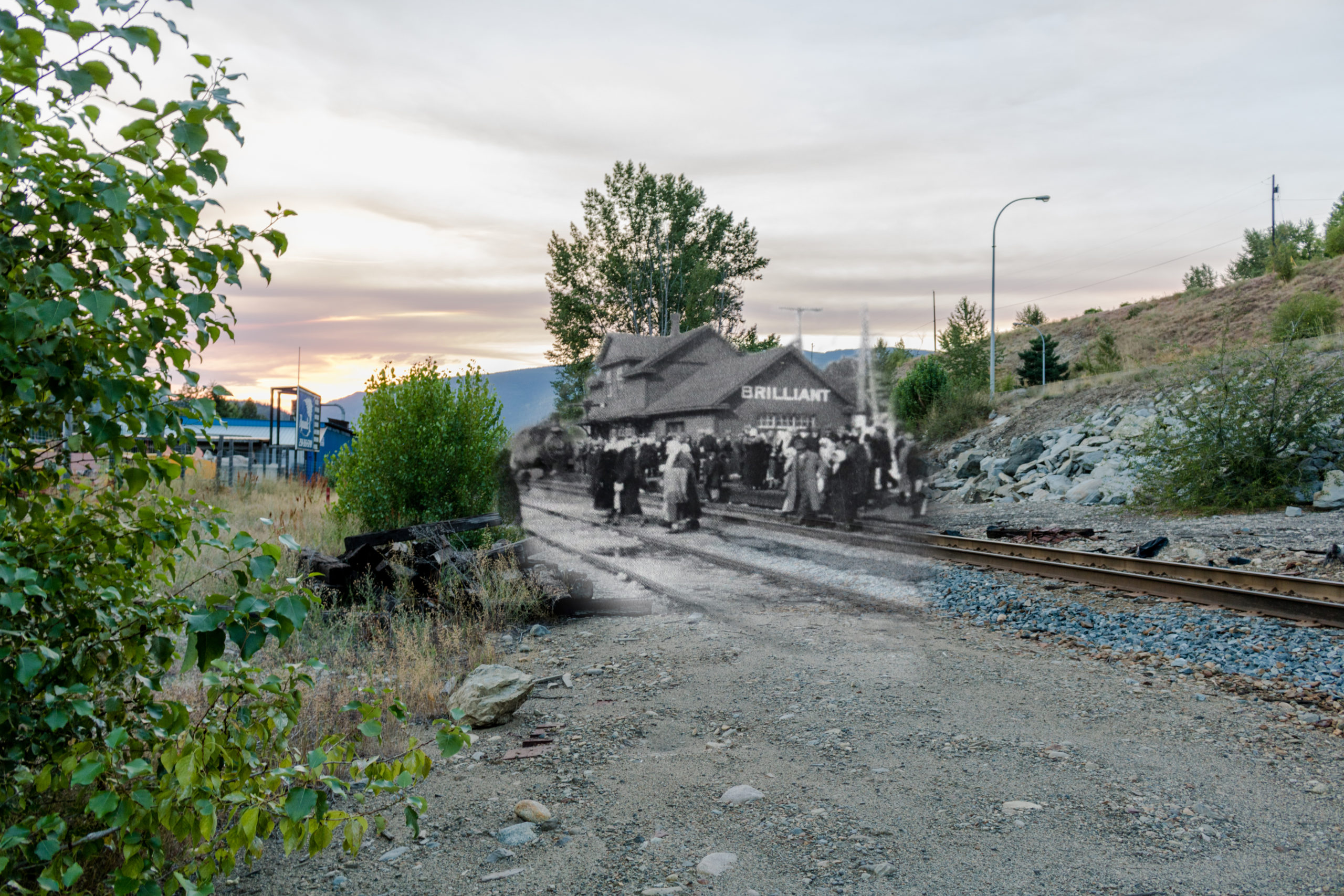 A crossfade showing a historical image of the Brilliant train station imposed onto a modern image of the area